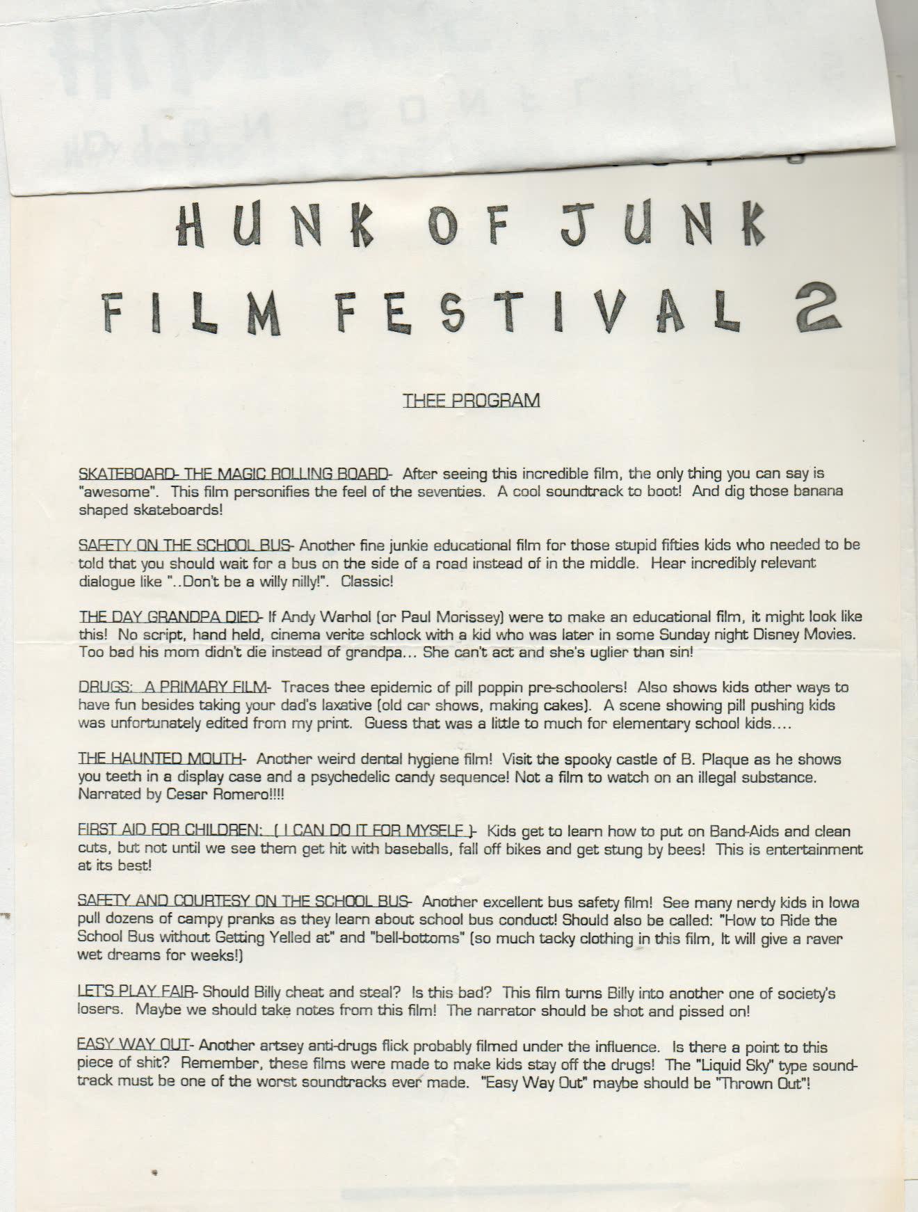 fe4f9d97e600 Hunka Junk Film Fest · Alternative Toronto