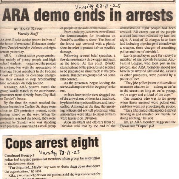Varsity Article about November 23, 1993, ARA demo
