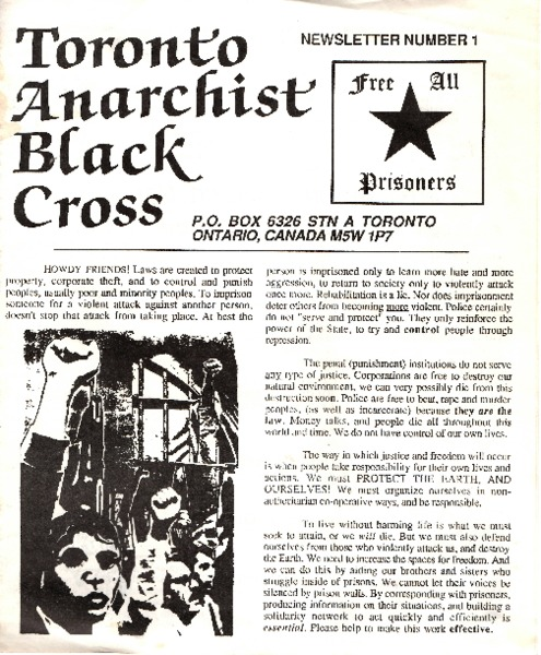 Toronto Anarchist Black Cross, Newsletter No. 1