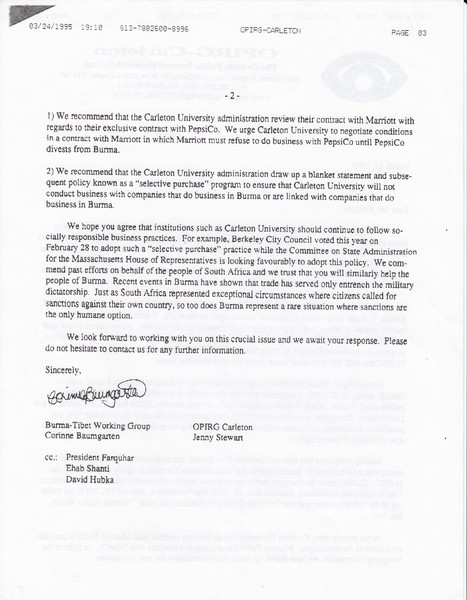 Letter from OPIRG-Carleton to the Board of Governers