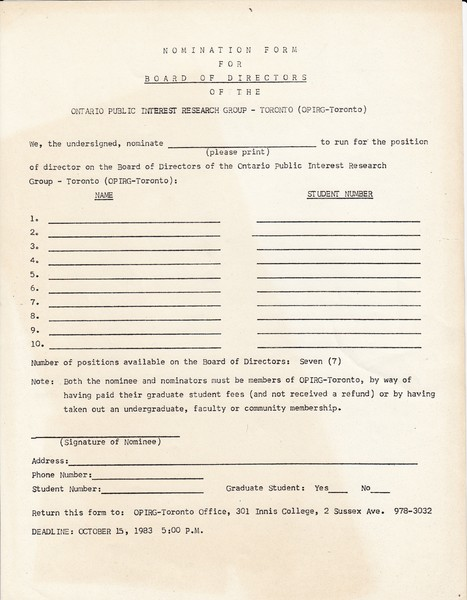 Nomination Form for Board of Directors
