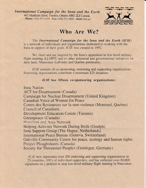Flyer for the International Campaign for the Innu and the Earth