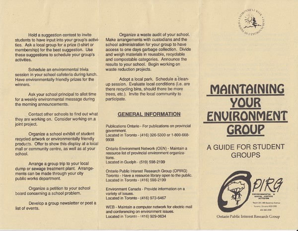 Maintaining Your Environment Group Pamphlet